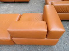 Harvey Probber Magnificent 9 Piece Harvey Probber Caramel Brown Leather Cubo Sectional Sofa - 1138719