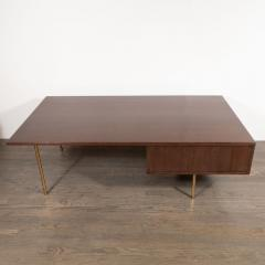 Harvey Probber Mid Century Modern 2 Drawer Cocktail Table in Walnut and Brass by Harvey Probber - 1507710