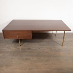 Harvey Probber Mid Century Modern 2 Drawer Cocktail Table in Walnut and Brass by Harvey Probber - 1507712
