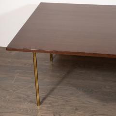 Harvey Probber Mid Century Modern 2 Drawer Cocktail Table in Walnut and Brass by Harvey Probber - 1507713