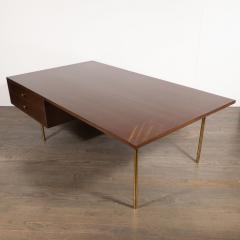 Harvey Probber Mid Century Modern 2 Drawer Cocktail Table in Walnut and Brass by Harvey Probber - 1507722