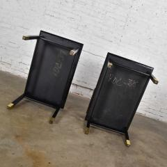 Harvey Probber Pair MCM side tables black with brass sabots style of harvey probber - 1780970