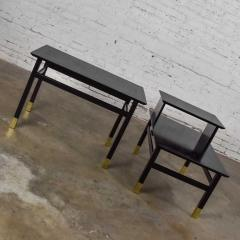 Harvey Probber Pair MCM side tables black with brass sabots style of harvey probber - 1780975