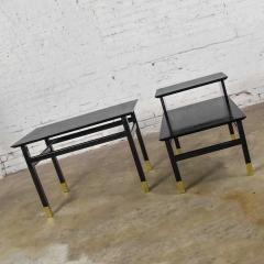 Harvey Probber Pair MCM side tables black with brass sabots style of harvey probber - 1780976