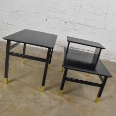 Harvey Probber Pair MCM side tables black with brass sabots style of harvey probber - 1781004