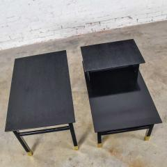 Harvey Probber Pair MCM side tables black with brass sabots style of harvey probber - 1781008