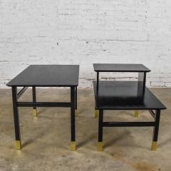 Harvey Probber Pair MCM side tables black with brass sabots style of harvey probber - 1781011