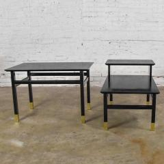 Harvey Probber Pair MCM side tables black with brass sabots style of harvey probber - 1781029