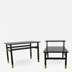 Harvey Probber Pair MCM side tables black with brass sabots style of harvey probber - 1785400