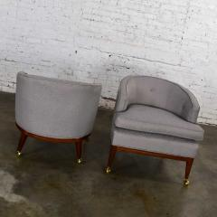 Harvey Probber Pair mcm grey taupe barrel back club chairs on casters style of harvey probber - 1938830