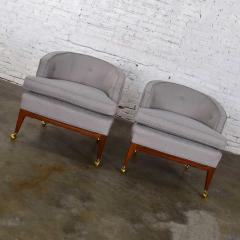 Harvey Probber Pair mcm grey taupe barrel back club chairs on casters style of harvey probber - 1938831