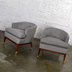 Harvey Probber Pair mcm grey taupe barrel back club chairs on casters style of harvey probber - 1938832