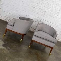 Harvey Probber Pair mcm grey taupe barrel back club chairs on casters style of harvey probber - 1938833