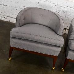 Harvey Probber Pair mcm grey taupe barrel back club chairs on casters style of harvey probber - 1938839