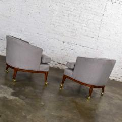 Harvey Probber Pair mcm grey taupe barrel back club chairs on casters style of harvey probber - 1938840