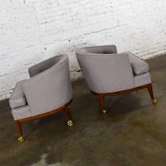 Harvey Probber Pair mcm grey taupe barrel back club chairs on casters style of harvey probber - 1938841