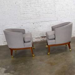 Harvey Probber Pair mcm grey taupe barrel back club chairs on casters style of harvey probber - 1938842