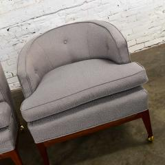 Harvey Probber Pair mcm grey taupe barrel back club chairs on casters style of harvey probber - 1938854
