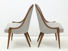 Harvey Probber Pair of Midcentury Harvey Prober Upholstered Slipper Chairs - 1524309