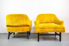 Harvey Probber Pair of Upholstered Lounge Chairs by Harvey Probber US 1960s - 1544963