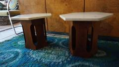 Harvey Probber Petite Harvey Probber Mahogany Faux Marble End Side Tables Mid Century Modern - 1262291