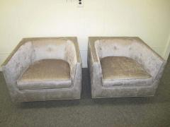 Harvey Probber Pristine Pair of Probber Style Cube Club Chairs Chrome Base Mid Century Modern - 1843544