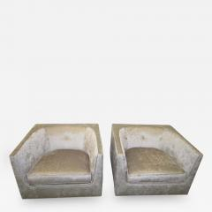 Harvey Probber Pristine Pair of Probber Style Cube Club Chairs Chrome Base Mid Century Modern - 1845735