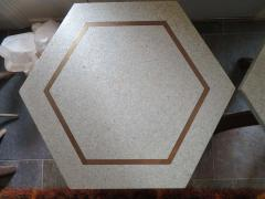 Harvey Probber Stunning Pair of Harvey Probber Brass Inlaid Terrazzo Top Side Tables Midcentury - 1262248