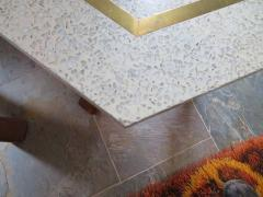 Harvey Probber Stunning Pair of Harvey Probber Brass Inlaid Terrazzo Top Side Tables Midcentury - 1262249