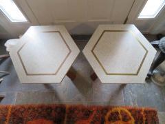 Harvey Probber Stunning Pair of Harvey Probber Brass Inlaid Terrazzo Top Side Tables Midcentury - 1262250