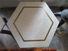 Harvey Probber Stunning Pair of Harvey Probber Brass Inlaid Terrazzo Top Side Tables Midcentury - 1262251