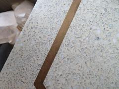 Harvey Probber Stunning Pair of Harvey Probber Brass Inlaid Terrazzo Top Side Tables Midcentury - 1262253