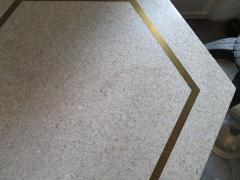 Harvey Probber Stunning Pair of Harvey Probber Brass Inlaid Terrazzo Top Side Tables Midcentury - 1262263
