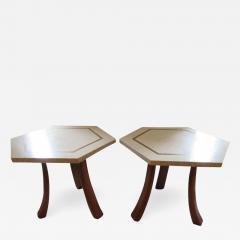 Harvey Probber Stunning Pair of Harvey Probber Brass Inlaid Terrazzo Top Side Tables Midcentury - 1263374