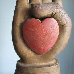 Heart in Hand Carving from an Odd Fellows Fraternal Lodge - 299852