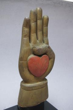 Heart in Hand Carving from an Odd Fellows Fraternal Lodge - 300325