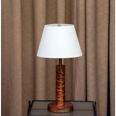 Heavy Copper Table Lamp with Custom Linen Shade - 1080905