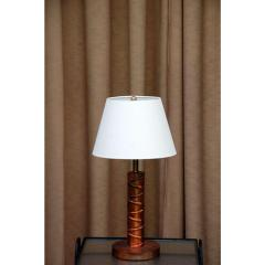 Heavy Copper Table Lamp with Custom Linen Shade - 1080907