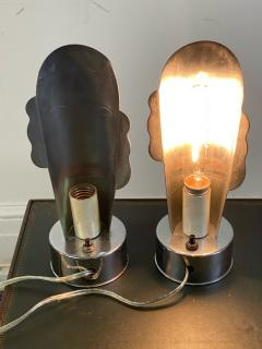 Helen Dryden MODERNIST ART DECO CHROME STYLIZED MASQUE LAMPS - 1963600