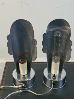 Helen Dryden MODERNIST ART DECO CHROME STYLIZED MASQUE LAMPS - 1963601