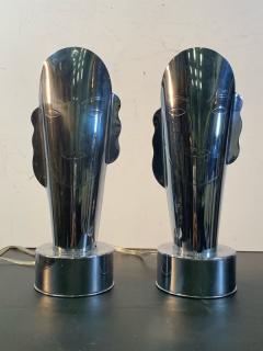 Helen Dryden MODERNIST ART DECO CHROME STYLIZED MASQUE LAMPS - 1963605