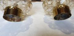 Helena Tynell Pair of Limburg glass brass signed Mid Century Modern flush mounts sconces - 1202429