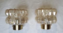 Helena Tynell Pair of Limburg glass brass signed Mid Century Modern flush mounts sconces - 1202430