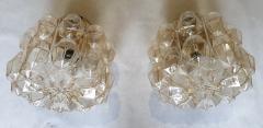 Helena Tynell Pair of Limburg glass brass signed Mid Century Modern flush mounts sconces - 1202432