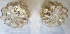 Helena Tynell Pair of Limburg glass brass signed Mid Century Modern flush mounts sconces - 1202433
