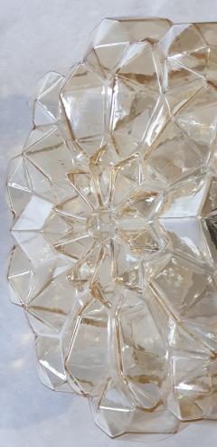 Helena Tynell Pair of Limburg glass brass signed Mid Century Modern flush mounts sconces - 1202435