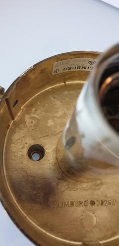 Helena Tynell Pair of Limburg glass brass signed Mid Century Modern flush mounts sconces - 1202437