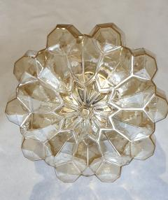 Helena Tynell Pair of Limburg glass brass signed Mid Century Modern flush mounts sconces - 1202438