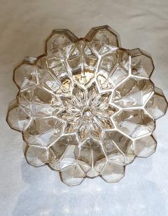 Helena Tynell Pair of Limburg glass brass signed Mid Century Modern flush mounts sconces - 1202439