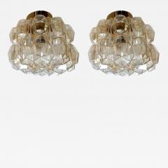 Helena Tynell Pair of Limburg glass brass signed Mid Century Modern flush mounts sconces - 1203770